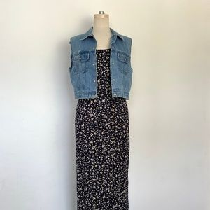 90s Microfloral Oversized Sleeveless Maxi Dress